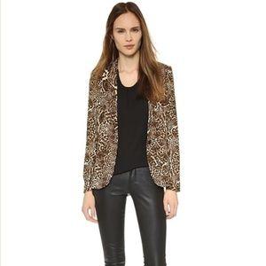 the Kooples Leopard Animal Print Crepe Blazer